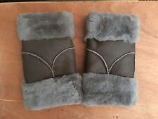 brown grey finger less sheep skin sheepskin leather men women gloves unisex