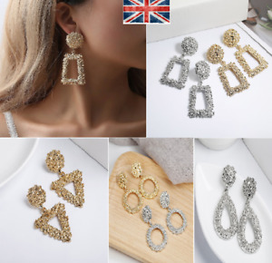 Dangle Drop Earrings Big Chandeliers two variants Gold and Silver UK Stock