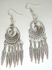 FEATHER EARRINGS & HEARTS Tibet Silver Long OVAL Southwest Silver Ear Wires NEW!