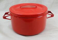 Vintage Dansk Enamel Ware Sauce Pot Pan 4 Quart Cover Red Mid Century Kobenstyle