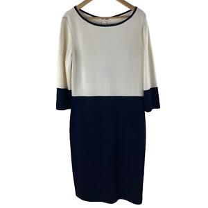 NWT New Women's St. John White & Navy Colorblock Sheath Dress Sz 12 $1,040