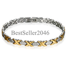 Men Women Leaf Magnetic Link Stainless Steel Bracelet w Free Link Removal Tool