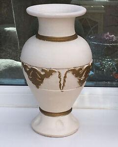 Vintage Tall Urn Vase Ivory/Gold 31 Cm