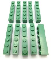 LEGO LOT OF 10 NEW SAND GREEN 1 X 6 DOT BRICKS BUILDING BLOCKS PIECES