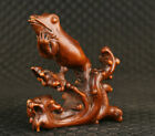 Rare Chinese boxwood handmade frog statue figure collectable ornament good stand