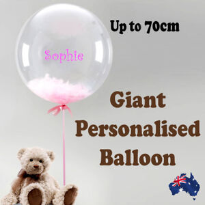 PERSONALISED GIANT JUMBO BUBBLE BALLOON BIRTHDAY BABY SHOWER CHRISTENING PARTY