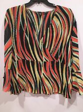 Women's Plus Size 3x Top Milano Woman Crinkle V Neck Blouse Bell Sleeves
