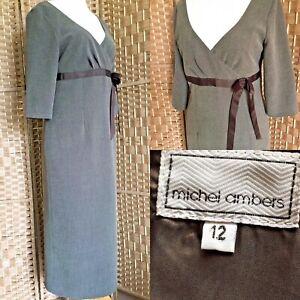 """MICHEL AMBERS Brown Fleck MIDI Pencil Dress Sz 12 L48"""" SMART BUSINESS Party B6"""