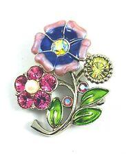 Rhinestone Enamel Flower Bouquet Brooch Faux Pearl Purple Pink Green