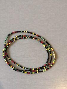 "African Waist Beads - Slim Figure Shaping Bikini / Belly Chain Fashion 27"" Rasta"