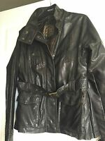"""New Look"" Women's Leather Look Jacket, Size 12, Dark Brown, Belted, VGC"