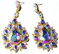 Pageant AB Chandelier Earrings Rhinestone Crystal 3 inch