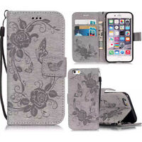 New Embossed butterfly leather Wallet Flip Stand case cover for i phone 5/5s/6G