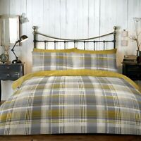 Dreams & Drapes Connolly Check 100% Brushed Cotton Duvet Cover Bed Set Ochre