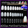 600Pc Mid Oval Length Full Cover Nails Round Tips Fake False nail Art