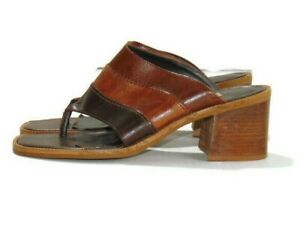Diba Sandals Brown Tan Beige Khaki Shirley 2.5 inch Thong Block Heel Womens  7.5