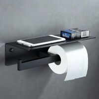 Matte Black Bathroom Double Toilet Paper Holder With Mobile Phone Storage