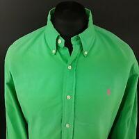 Polo Ralph Lauren Mens THICK Oxford Shirt XL Long Sleeve Green SLIM FIT