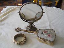 Vintage Vanity Dresser Mirror Brush Brass Set & Bracelet