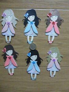 6 very sweet assorted little girl handmade card toppers, birthday mum Grandma #1