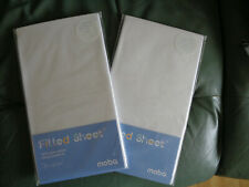 Babys Moses Basket 2 Fitted Sheets 100% Organic Cotton White Moba NEW