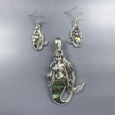 Silver Finished Mother of Pearl Mermaid Shape Magnetic Pendant Earrings Set