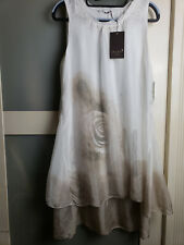 Italy genuine silk,one size dress,without sleeve,white/gray,inside cotton lining