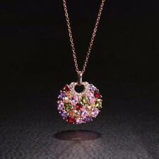 Women Multicolor Colorful Trendy Crystal Round Necklace Pendant Sweater Chain