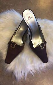 Vintage Anne Klein Mule  pumps Brown 6.5 Square toe low heel dress shoe