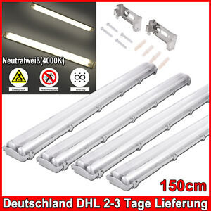 4X 150cmT8 LED Feuchtraumleuchte Werkstatt Garage LED Röhre Neutralweiß 2Flammig