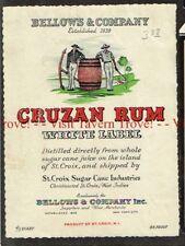 Unused 1940s WEST INDIES St Croix Bellows CRUZAN WHITE LABEL RUM Label