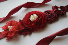 Small Burgundy Sash, flower Belt, maternity sash, wedding sash