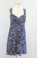Ann Taylor Loft Navy Blue White Paisley Print Sleeveless Dress Size 0 Casual