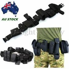 Utility Kit Tactical Belt with 9 Pouches for Police Guard Security System Black