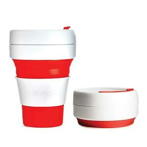 Stojo On The Go Coffee Cup - Pocket Sized Collapsible Silicone Travel Mug - Red