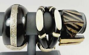 """3 7"""" Bone/Horn Cuff Bracelets"""
