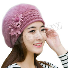 Women's Super Soft Angora Classic Flower Knitted Beanie Berets Cap Hat