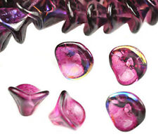 4 Violet AB Three Petal Glass Flower Beads 12MM