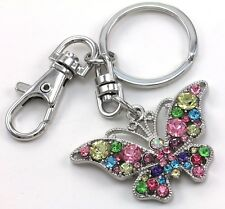 Lovely Colorful Butterfly Animal Lover Jewelry Car Keychain Key Ring Charm Gift