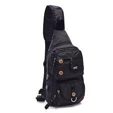 Small Waterproof Nylon Laptop Shoulder Backpack Sling Bag Mens Accessories Black