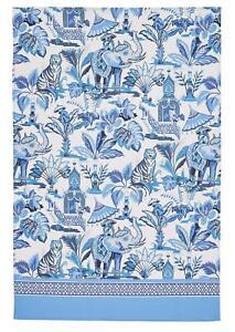 Ulster Weavers tea towel, India Blue tiger, elephant & monkey, cotton
