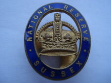 CWW1 VINTAGE NATIONAL RESERVE SUSSEX ENAMEL LAPEL BADGE