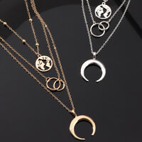 Alloy Lady Multilayer Chain Jewelry Choker Moon Women Clavicle Necklace Charm