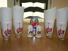 MOBIL OIL GAS,1940's SET OF #4 DRINKING GLASSES WITH SET OF SALT/PEPPER SHAKERS