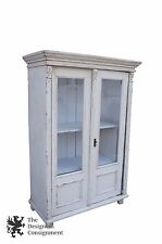 Antique Pine Glass Front Converted Armoire Cabinet Primitive Shabby Bookcase
