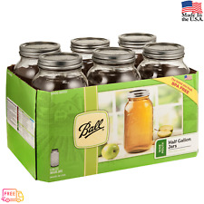 6 PACK 64 oz Half-Gallon Jars with Lids and Bands Ball Mason Wide Mouth