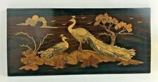 Vintage Wood Inlaid Wall Hanging Peacocks Made in Mysore India 1993