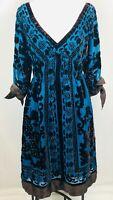 Hale Bob Silk Embellished Dress Teal Velvet Size Small Empire Waist Floral