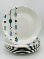 Set of 7 Pier 1 Beaded Garland Salad Dessert Plates Blue & Silver 7 1/2 MCM