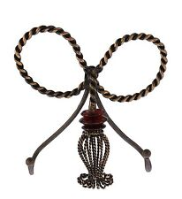 "Wall Iron Double Towel Hook, Tassel Design, Brown with Gold Accents- 7""H X 8""W."